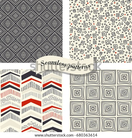 Set of Seamless abstract hand drawn pattern. Geometric pattern in doodle can be used for ceramic tile, wallpaper, linoleum, textile, wrapping paper, web page background. Vector