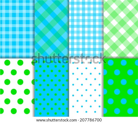 Set of seamless abstract jumbo and small polka dot pattern, checkered textile with lines, and diagonal stripes in grass green, light aqua blue and white color. Vector art image illustration background