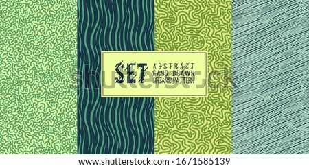 Set of seamless abstract organic patterns. Vector. Natural ornament, pattern and strokes for decoration of wallpaper, tile, textiles, gifts, printing, art prints, postcards, dishes, wallpapers.