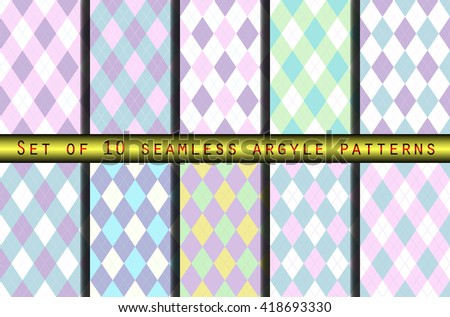 set of seamless argyle patterns