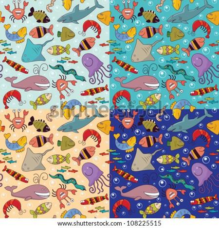 Set of seamless background - underwater wildlife, marine animals, cartoon concept