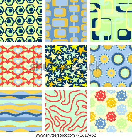 Set of 9 seamless backgrounds: Vector version - stock vector