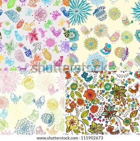 Set of Seamless Backgrounds with funny birds and flowers, cute hand drawn illustration, vector