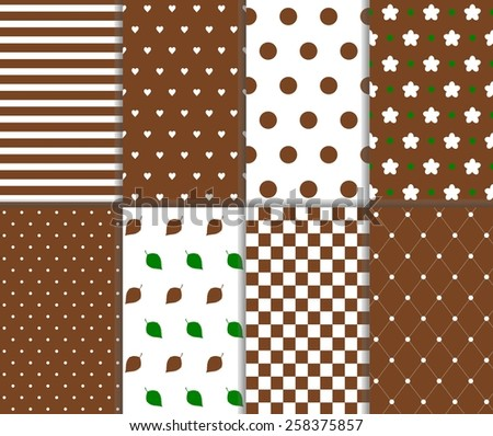 Set of seamless big and small polka dot, lined textile, leaves, heart, flower, chess board and stripes pattern in brown, green and white color. Vector art image illustration background, simple design