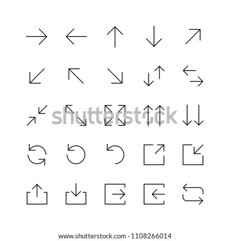 Set of seamless black arrows for mobile user interface and web design isolated on white background #1108266014
