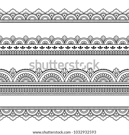 Set of seamless borders for design, application of henna, Mehndi and tattoo. Decorative pattern in ethnic oriental style. #1032932593