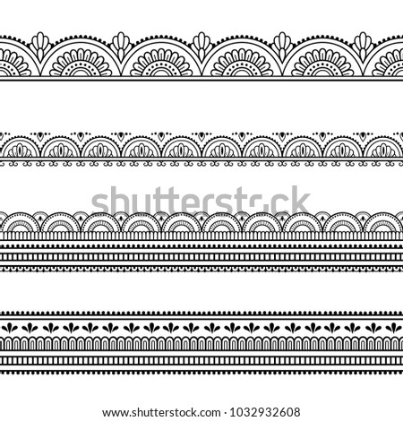 Set of seamless borders for design, application of henna, Mehndi and tattoo. Decorative pattern in ethnic oriental style. #1032932608