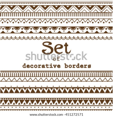 Set of seamless borders. Vector seamless textures.Isolated.Geometric, aztec, ethnic, boho, folf, abstract borders. Clip art for design.