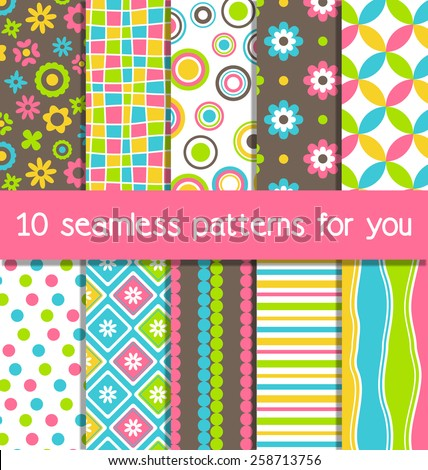 set of 10 seamless bright fun