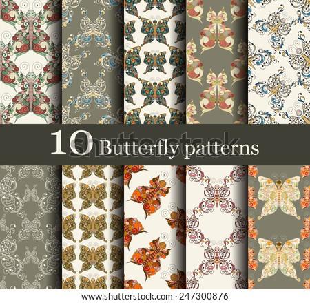 set of 10 seamless butterflies