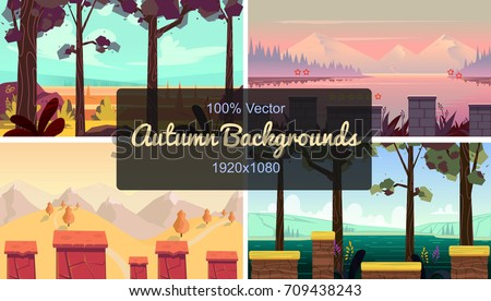 set of seamless cartoon autumn