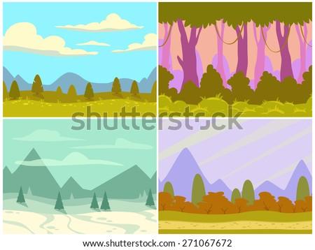 set of seamless cartoon nature
