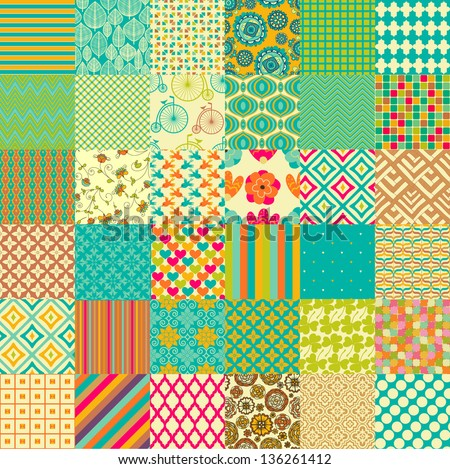 Set of seamless childish patterns - stock vector