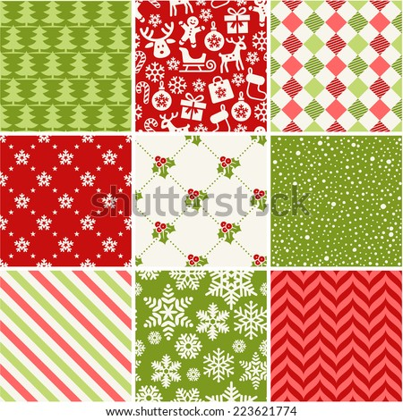 stock-vector-set-of-seamless-christmas-patterns