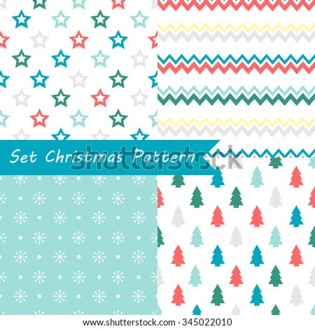 Set of seamless Christmas patterns. Illustration of a Christmas tree, snow. traditional New Year colors. Perfect for wallpapers, background, textile, Christmas and New Year greeting cards