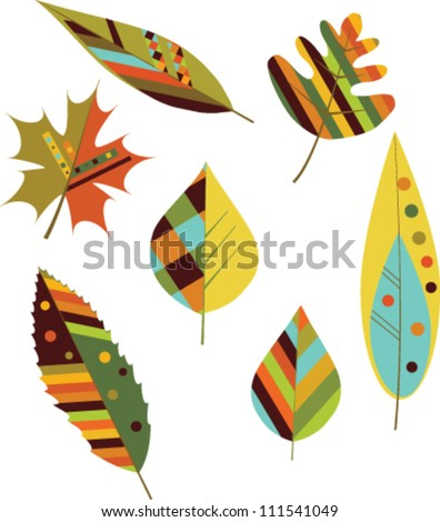 Set of seamless colorful autumn leaves. Vector