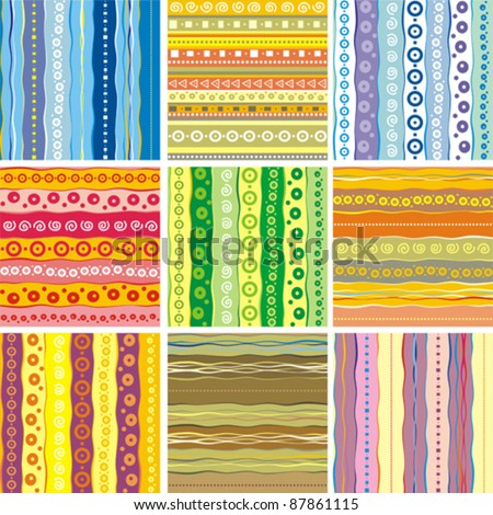 Set of Seamless colorful patterns. Strips abstract background. Vector illustration.