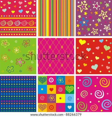 Set of seamless colorful patterns. Vector Illustration