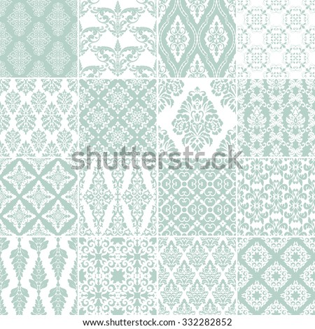 set of 16 seamless damask
