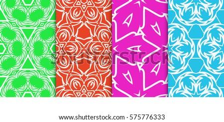 set of Seamless decorative geometric floral pattern. vector illustration.
