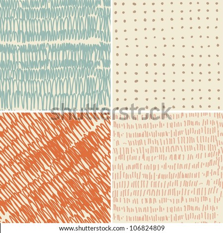 set of 4 seamless doodle patterns