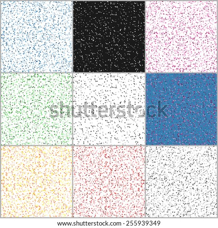 Set of seamless dots patterns  with small  colorful peas