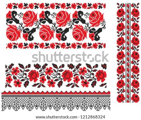 Cross Stitch Flower Border Set - Download Free Vectors