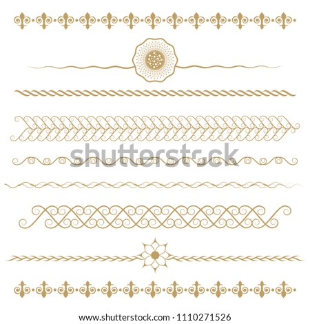 Set of seamless floral borders. Golden color on a white background. Can be used as a template for printing postcards or invitations, for textiles, engraving, wooden furniture. Vector. #1110271526