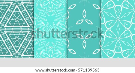 set of seamless floral geometric patterns. Texture for holiday cards, Valentines day, wedding invitations, design wallpaper, pattern fills, web page, banner, flyer. Vector illustration. #571139563