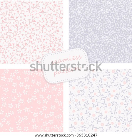 set of 4 seamless floral