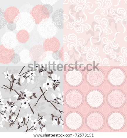 Set of seamless floral patterns with spring or summer flowers and cherry blossom.
