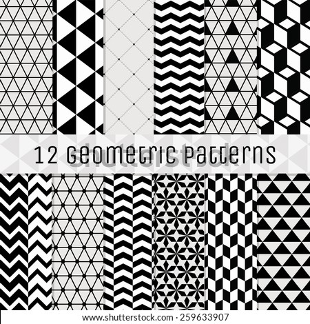 set of 12 seamless geometric