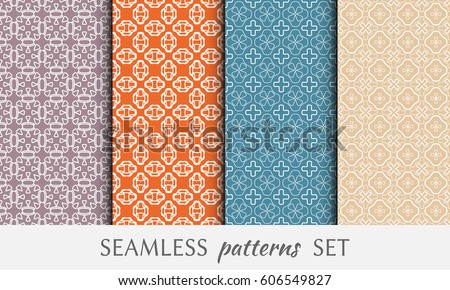 Set of 4 seamless geometric line patterns. Endless linear trendy graphic texture for wallpaper, packaging, pattern fill, invitation, card, banner, flyer, fabric . Colorful seamless backgrounds #606549827