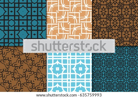 set of Seamless geometrical pattern. vector illustration. For design, wallpaper, background fills, wrapping, card, banner, flyer. Ethnic ornament #635759993