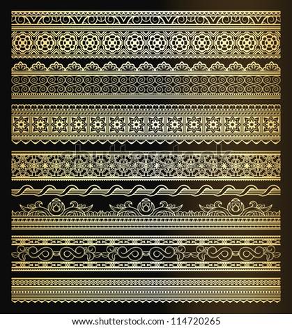 Set of seamless golden lines