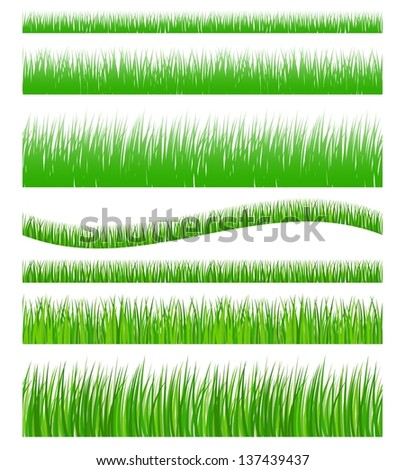 Set of seamless green grass