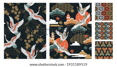 Set of seamless Japanese-style patterns with autumn landscapes, oriental cherry flowers, cranes and maple leaves. Vector illustration.