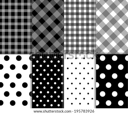 Set of seamless jumbo and small polka dots, checkered textile with large and small lines, and diagonal stripes in black, white and gray color. Abstract vector art image illustration background