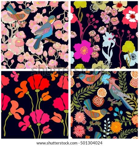 set of seamless kimono patterns