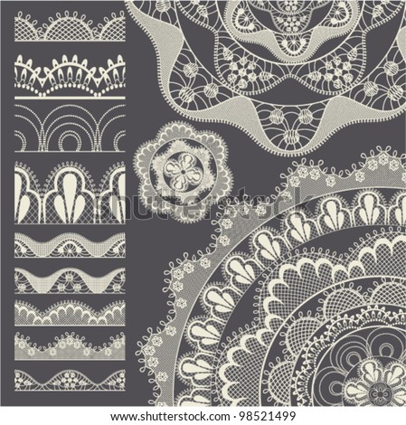 set of seamless lace borders....