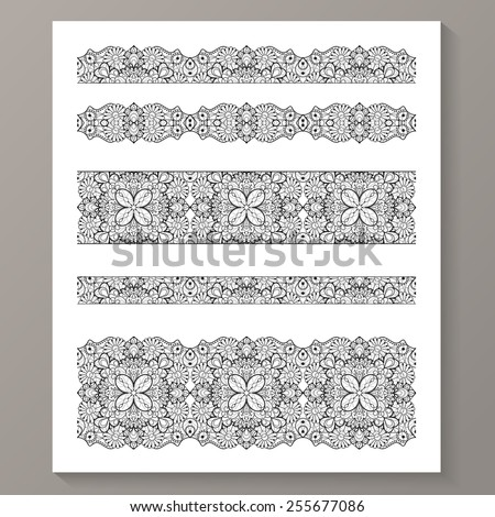 set of seamless lace borders...