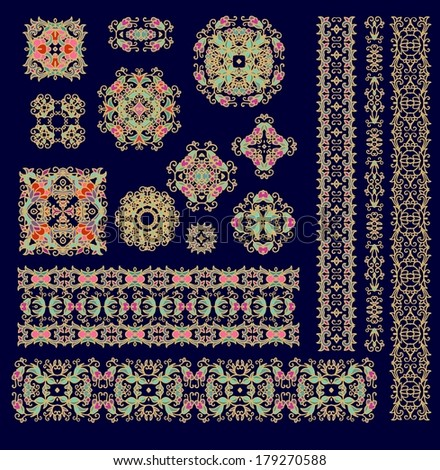 Set of seamless laced vector patterns