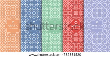 Set of seamless line patterns, colored background. Stylish decorative vintage, retro, arabic, christmas label decor set. Abstract geometric frame, vector illustration. Art Deco style, light colors #782361520