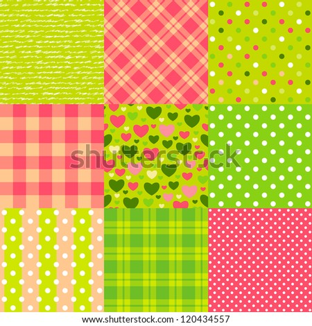 Set of seamless New Year patterns: polka dot, scottish plaid, hearts and other.