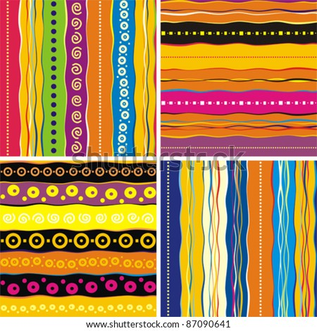 Set of 4 seamless patter. Colorful abstract background. Strip pattern. Vector illustration.
