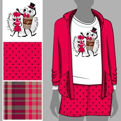 Set of seamless pattern and vector funny sweet company. Paper cup of coffee and candy. Illustration of cartoon dessert. Print on T-shirts, bags and other fashion products.