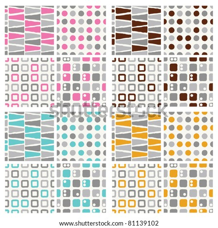 set of seamless pattern - grey with pink, brown, blue and orange