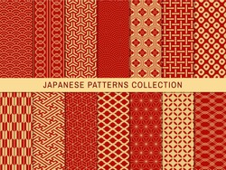 Set of 14 seamless pattern in japanese style. japanese traditional vector art.
