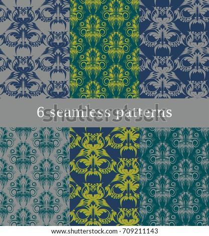 set of 6 seamless  pattern