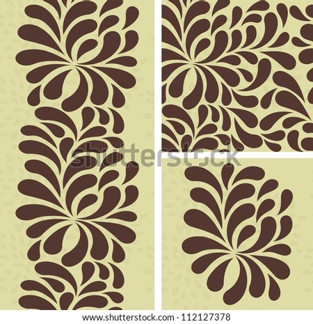 set of seamless pattern with brown drops
